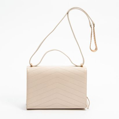 CHANEL  Circa 2018/19  Sac  Bag    Cuir matelassé sable  Beige quilted leather  Garnitures...