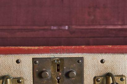 HERMÈS 24 Faubg St Honoré, circa 1940/45  MALETTE en toile et cuir, garnitures en...