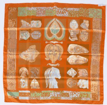 """HERMÈS  SQUARE in printed silk twill titled """"Persona"""" after Loïc Dubigeon  90 x..."""