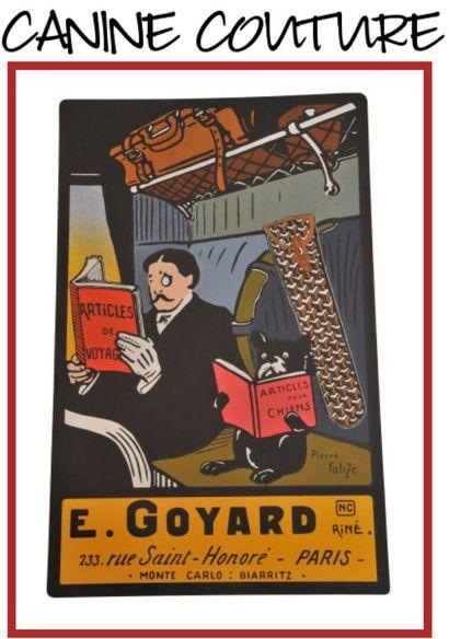GOYARD, circa 1945/50  MALLE ARMOIRE en Goyardine, cuir loziné, hêtre, garnitures...