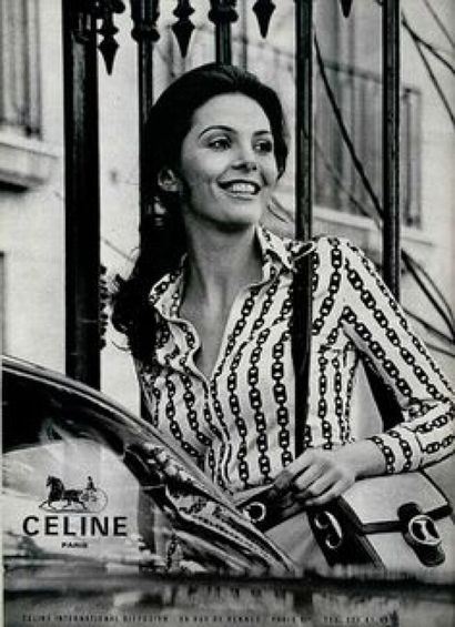 CÉLINE - 1970s  CHEMISE en jersey de coton imprimé écureuil imprimé chaînes (env....