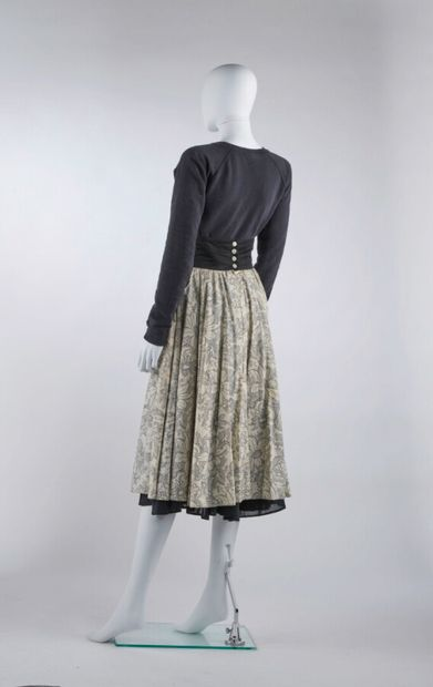 CACHAREL - 1980s/90s  Ecru and black printed cotton skirt, laced up waist (S38)...