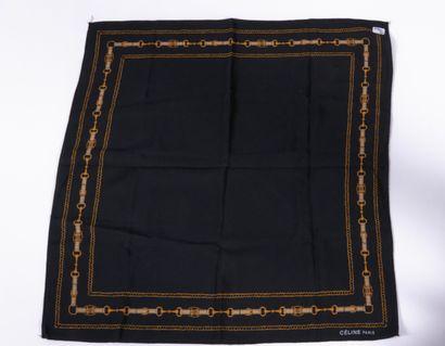 CELINE, LANVIN - 1970s  TWO SQUARES in printed silk  50 x 50 cm