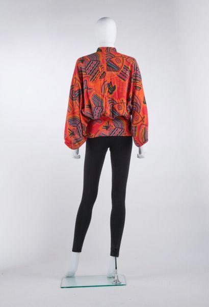 ISSEY MIYAKE - Automne-hiver 1976  BLOUSE entravée à manches kimono en coton gratté...