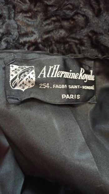 A L'HERMINE ROYAL - 1980s  3/4 length jacket in brindle breitschwanz and ebony leather,...