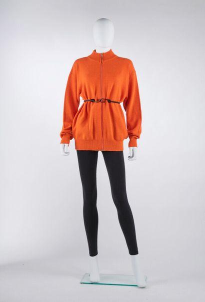 HOBBS  CARDIGAN zippé en cachemire orange...
