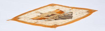 """HERMÈS  CARRÉ plissé en twill de soie imprimé titré """"Vue du Carrosse - La galère..."""