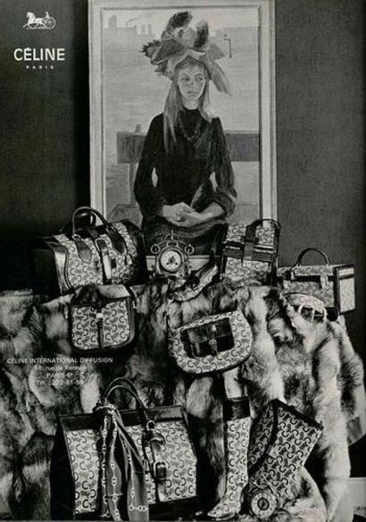 CELINE - 1970s/80s  PORTEFEUILLE en toile siglée et cuir  15 x 11 cm  (patine d...