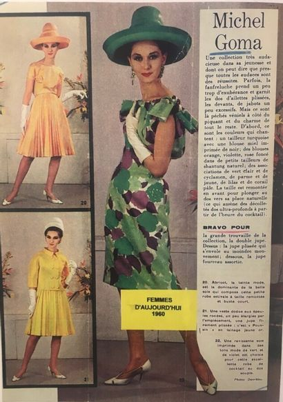 MICHEL GOMA HAUTE COUTURE - 1959  COCKTAIL DRESS in buttercup silk satin, some fringed...