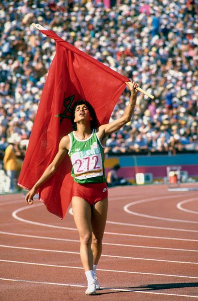 Los Angeles 1984. Nawal el Mutawakel, 400m...