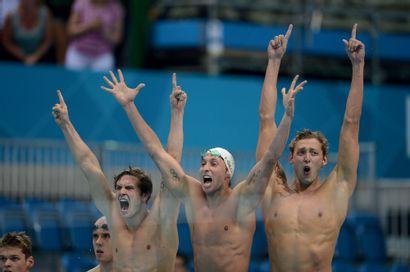 Londres 2012. Équipe de France du 4x100m,...