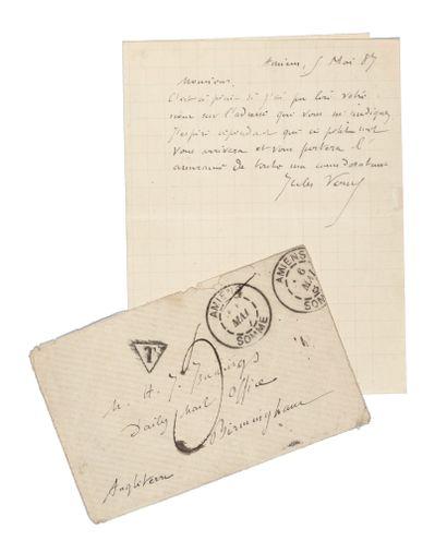 Lettre de Jules Verne avec son enveloppe...