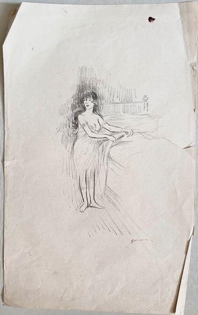 Jean-Louis FORAIN (1852-1931)  Femme près...