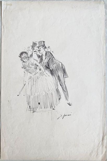 Jean-Louis FORAIN (1852-1931)  Au bal masqué,...