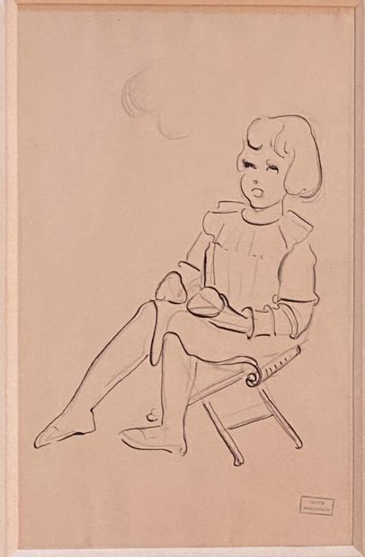 Emmanuel GONDOUIN (1883-1934)  Fillette assise...