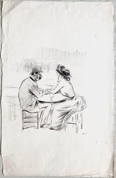 Jean-Louis FORAIN (1852-1931)  Au café  Encre...