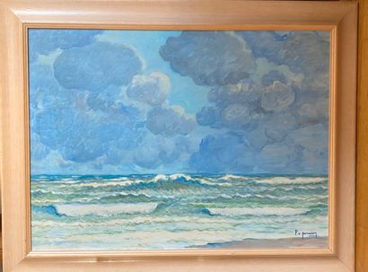 "Pierre-Edmond PERADON (1893-1981) ""Bord de mer"". Acrylique sur carton, signé en..."
