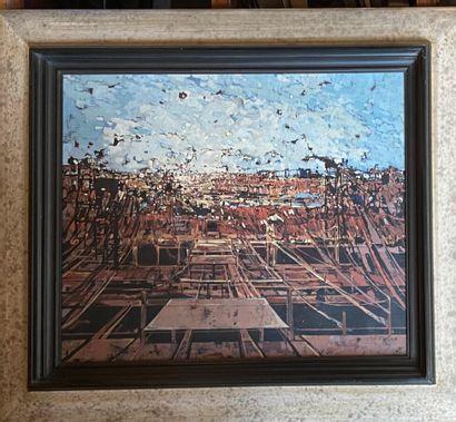 Ecole XXème. Le chantier. Huiles sur toile, non signée.56 x 46 cm