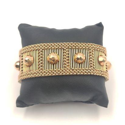 Bracelet souple en or jaune à motif de dix...