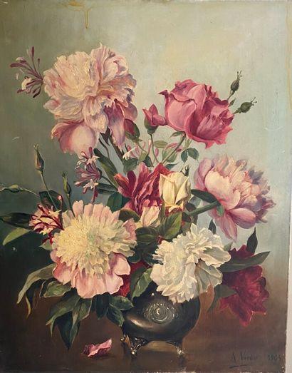 A. VERDIER. Bouquet de fleurs. Huile sur...
