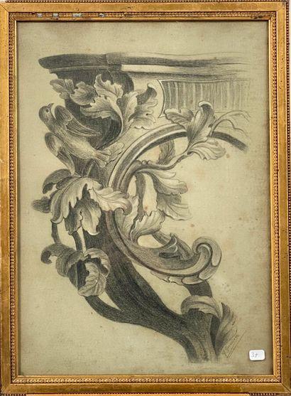 M. GUESDON. 2 dessins sur papier bleu/gris...