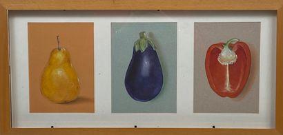 Ensemble de pièces encadrées : 3 légumes dans une même encadrements, 2 gravures...