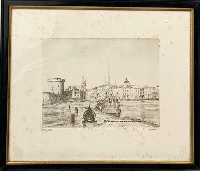 "Haudrey. aquarelle ""Bateau de pêche"" et gravure ""Port de pêche"""