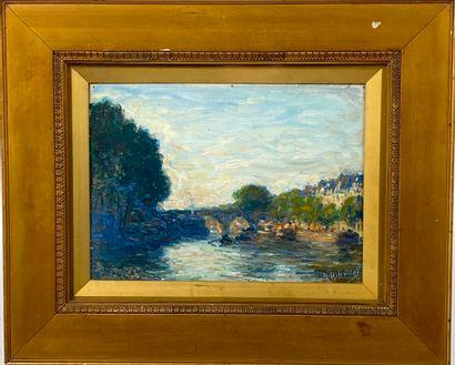 A. HILLAIRE  Paysage à la rivière et au pont  Huile sur toile contrecollée sur carton...