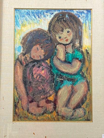 Ecole XXème  Deux fillettes  Pastel gras  49 x 33.5 cm