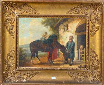 Ecole fin XIXème siècle   Cheval au repos....
