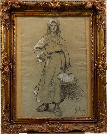 Georges François Paul LAUGÉE (1853-1937)  Paysanne  Fusain et craie blanche