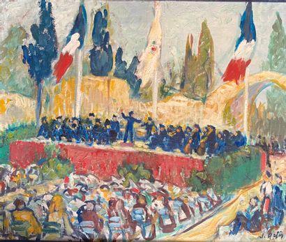 J; RAFIN. L'orchestre. Huile sur toile, signée...