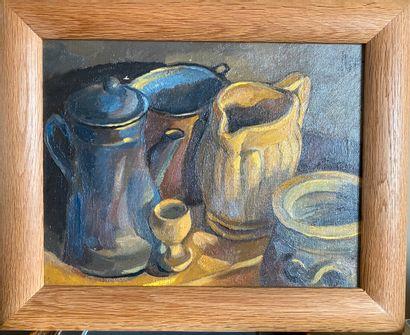 LICHU (rue de Lappe). Nature-morte à la cafetière bleue. Huile sur toile, signée...