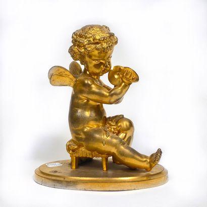 Amour aux cymbales. Bronze doré. (Element...