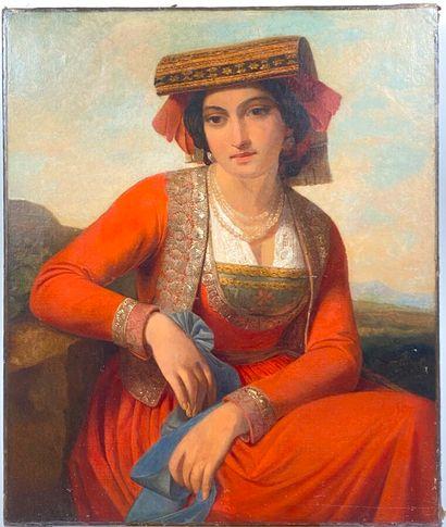 Ecole XIXème  Jeune romaine  Huile sur toile, non signée  72 x 60 cm