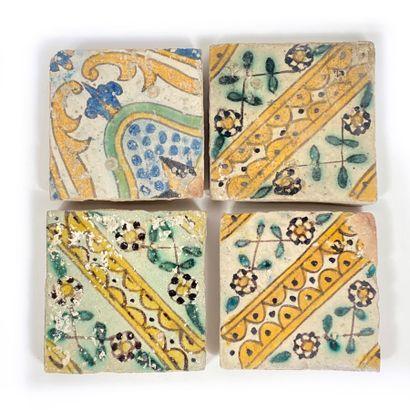 Lot de 3 carreaux de céramique anciens