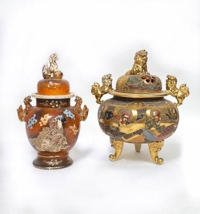 Brûle-parfum Japon (SATSUMA) et vase couvert...
