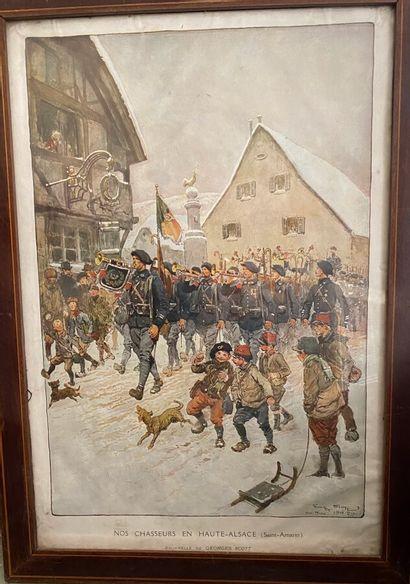 D'après George Scott  Nos chasseurs en Haute-Alsace...