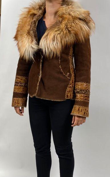 ALLARD MEGEVE. Veste en renard et cuir. Taille...