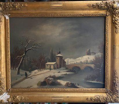 Ecole XXème  Paysage au pont sous la neige  Huile sur toile  48 x 65 cm