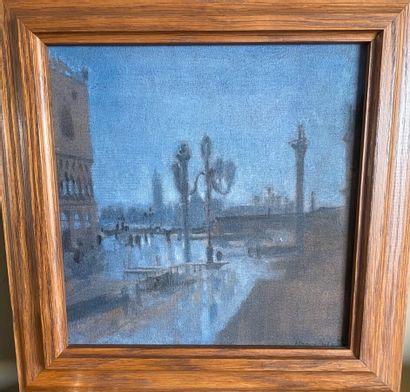"""Hugues ABSIL """"Vue de Venise"""" Huile sur toile, signée en bas à droit. 30 x 30 cm"""