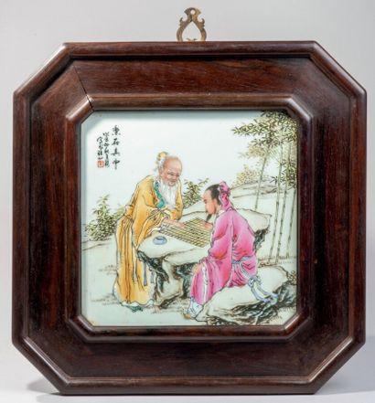 CHINE - XXe siècle - Paire de plaques en...