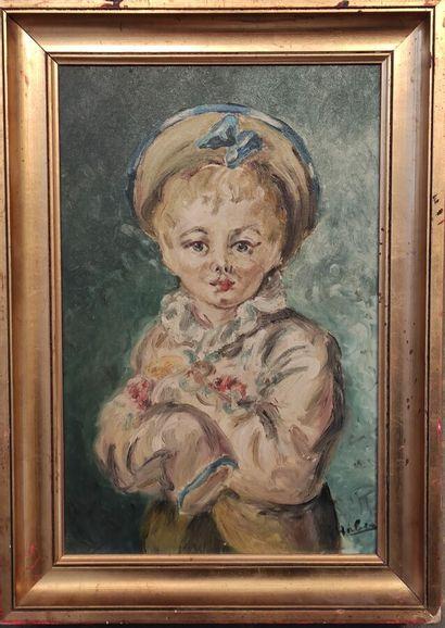HABER- XX siècle-  Portrait d'une fille  Huile...