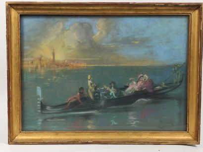 Louis Morin  Barque au carnaval de Venise...