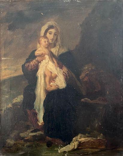Ecole XIXème  Vierge à l'enfant  Huile sur...