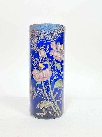 Verrerie de Pantin .Vase cylindrique en verre...