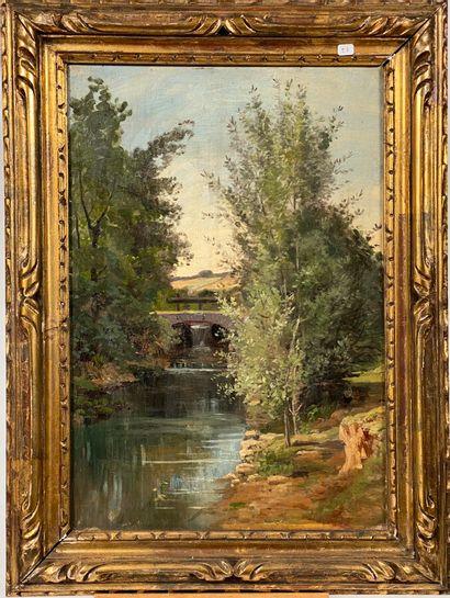 """Ecole XIXème  """"Paysage à la rivière"""" et """"lavandières.""""  Paire d'huiles sur Toiles..."""