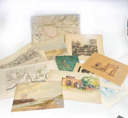 Lot de dessins et gravures divers comprenant...