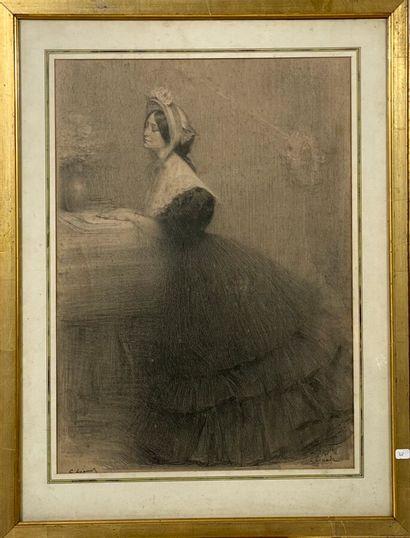 C. LEANDRE. Jeune femme à la lecture. Eau-Forte....