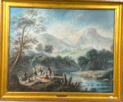 Ecole XIXème  Danse près d'une rivière avec...